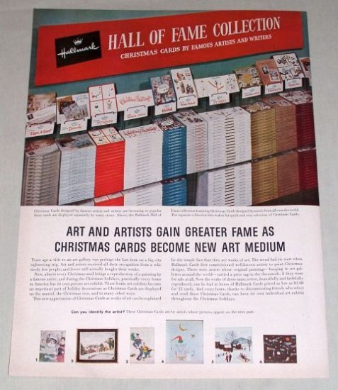 1953 Hallmark Card Hall Of Fame Two Page Color Print Ad Rockwell Churchhill