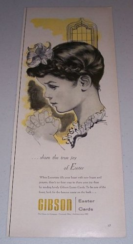 1954 Gibson Easter Cards Girl Praying Prayer Vintage Print Art Color Ad