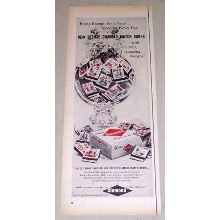 1956 Deluxe DIAMOND Match Books Matchbooks Color Print Ad