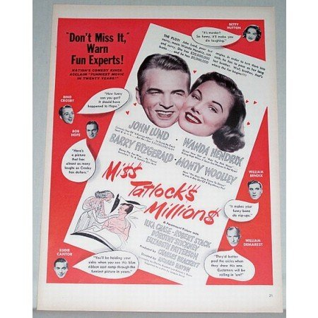 1948 Color Print Movie Ad for Miss Tatlocks Millions Celebrity John Lund
