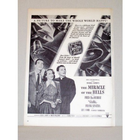 1948 Vintage Movie Ad The Miracle Of The Bell Celebrity Frank Sinatra