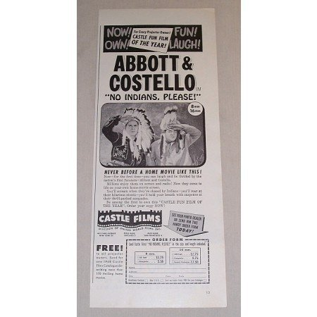 1948 Vintage Movie Ad No Indians Please Celebrity Abbott and Costello