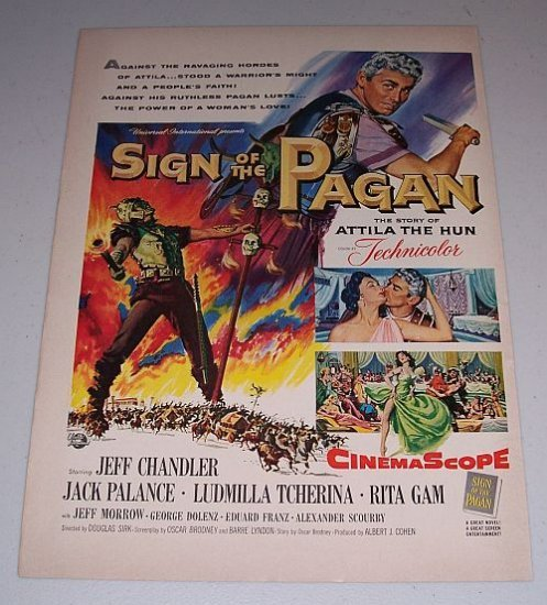 1954 Color Print Movie Ad Sign of the Pagen Celebrity Jack Palance