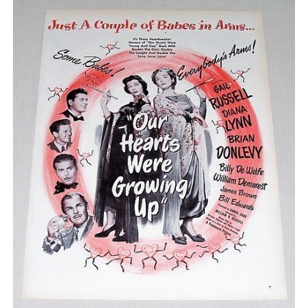 1946 Color Print Movie Ad Our Hearts Were Growing Up Celebrity Gail Russell