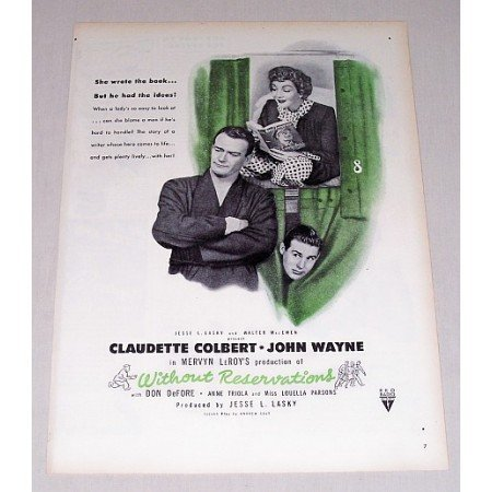 1946 Without Reservations Color Print Movie Ad Celebrity John Wayne