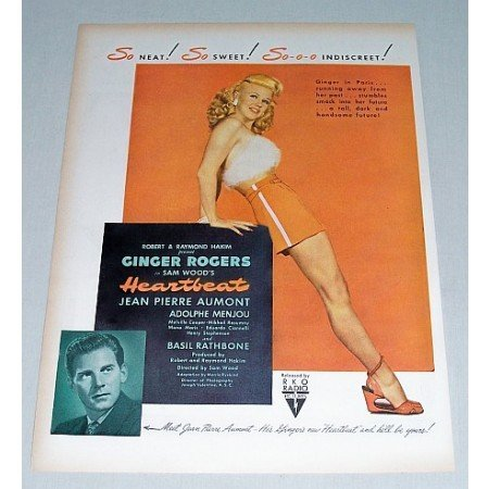 1946 Color Print Movie Ad HEARTBEAT Celebrity Ginger Rogers
