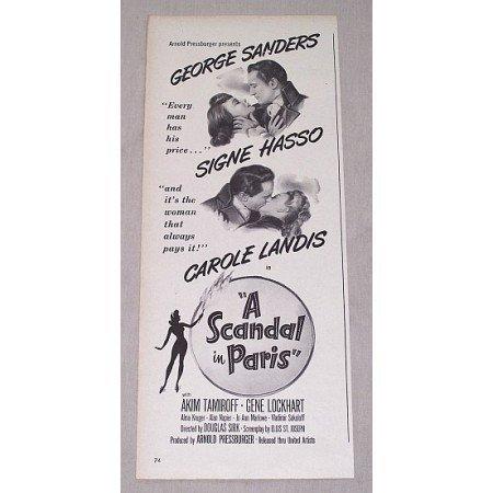 1946 Vintage Movie Ad A SCANDAL IN PARIS Celebrity Sanders Hasso