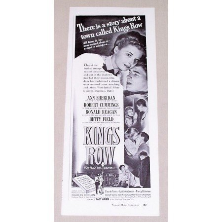1942 Vintage Movie Ad Kings Row Celebrity Ann Sheridan Ronald Reagan