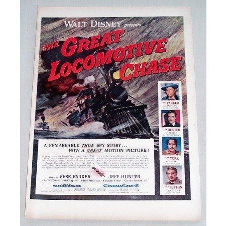 1956 Color Print Movie Art Ad Walt Disney The Great Locomotive Chase