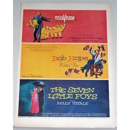 1955 Color Print Movie Ad THE SEVEN LITTLE FOYS Celebrity Bob Hope