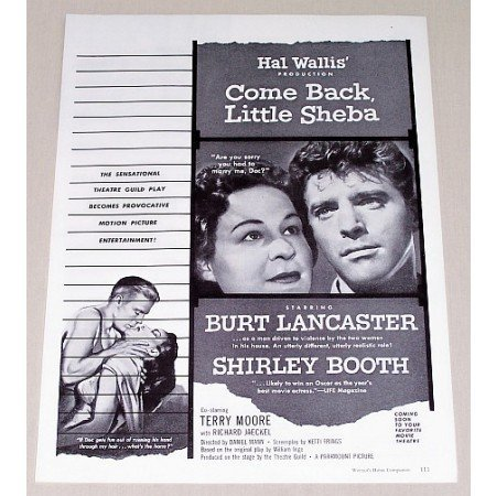 1953 Vintage Movie Ad COME BACK LITTLE SHEBA Celebrity Burt Lancaster
