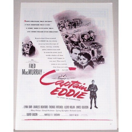 1945 Vintage Movie Ad Captain Eddie Celebrity Fred MacMurray