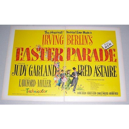 1948 Musical 2 Page Color Print Ad - Easter Parade - Celebrity Judy Garland Fred Astaire