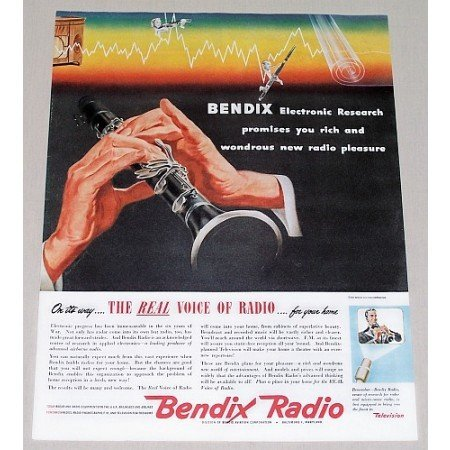 1945 Bendix Radio Music Color Print Ad - The Real Voice Of Radio