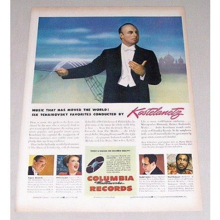 1946 Columbia Records Color Print Ad Celebrity Conductor Kostelaneetz