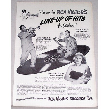 1947 RCA Victor Records Vintage Print Ad - Line Up Of Hits