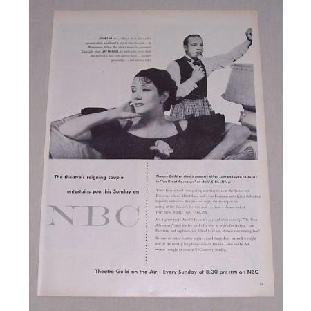 1949 NBC Vintage Print Ad Celebrity Alfred Lunt Lynn Fontanne