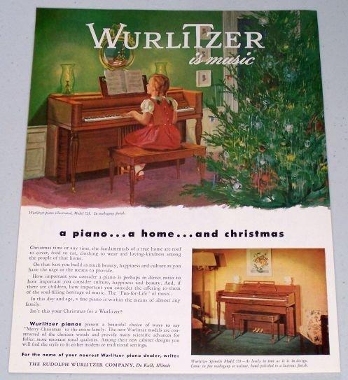 1947 Rudolph Wurlitzer Model 725 Piano Color Christmas Art Vintage Color Print Ad