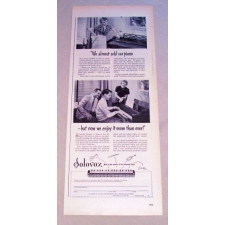 1950 Solovox Hammond Organ Piano Addition Vintage Print Ad