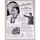 1937 The Hammond Organ Vintage Print Ad Celebrity William Mengelberg