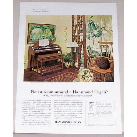 1962 Hammond Self Contained Organ Color Print Ad