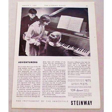 1931 Steinway Baby Grand Piano Vintage Print Ad - Adventurers