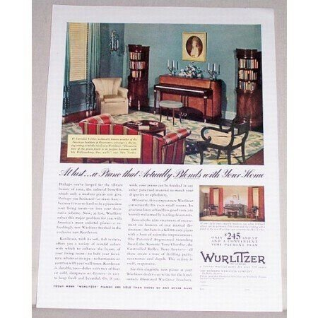 1939 Rudolph Wurlitzer Kordevon Piano Color Print Ad