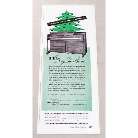 1947 Lester Betsy Ross Spinet Piano Vintage Print Ad