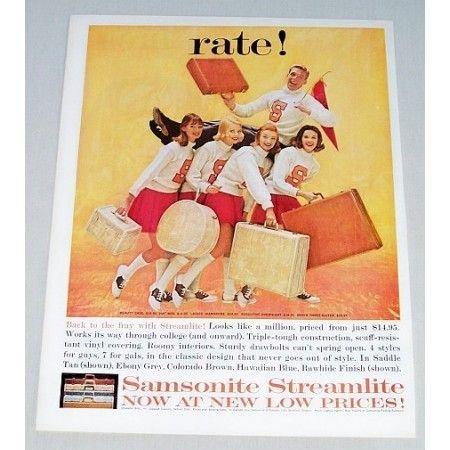 1961 Samsonite Streamlite Luggage Color Print Ad