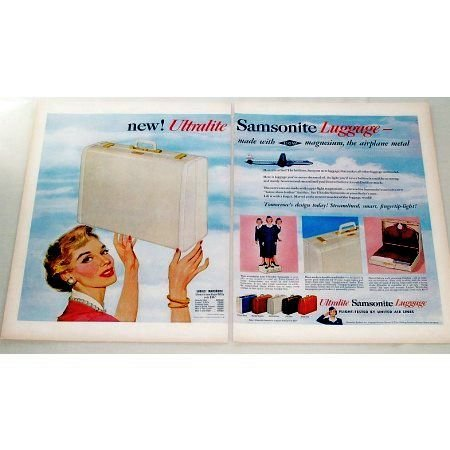 1955 Ultralite Samsonite Luggage 2 Page Color Print Ad
