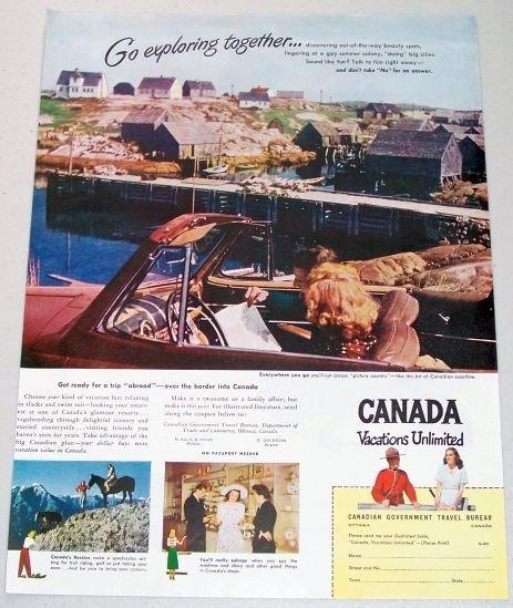 1948 Canada Vacations Unlimited Canadian Coastline Color Vacation Color Print Ad