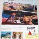 1948 Canada Vacations Unlimited Canadian Coastline Color Vacation Color Print Ad