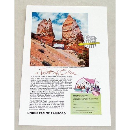 1955 Union Pacific Railroad Bryce Canyon Park Color Print Ad