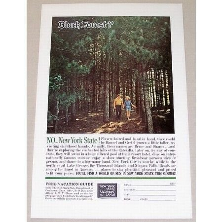1961 New York State Vacation Color Print Ad The Catskills