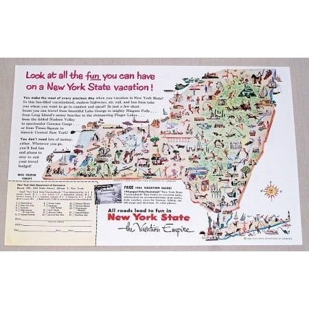 1955 New York State Vacation Empire Color Print Ad