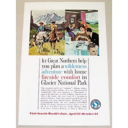 1961 Great Northern Railway Glacier National Park Color Print Ad