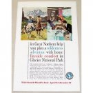 1961 Great Northern Railway Glacier National Park Color Print Ad