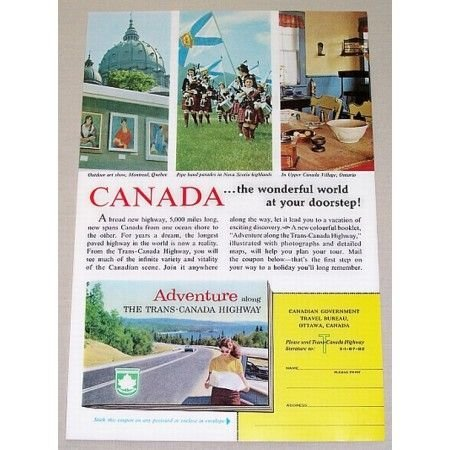 1961 Canada Vacation The Trans Canada Highway Color Print Ad