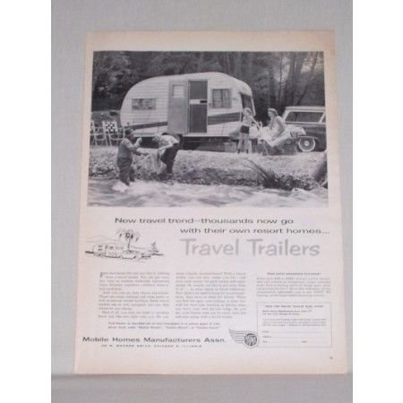 1958 MHMA Travel Trailers Assn. Vintage Print Ad - Family Camping