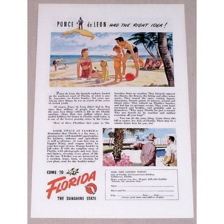 1947 Florida Vacation Color Print Ad - The Sunshine State