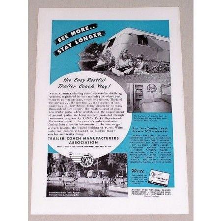 1947 Travel Trailer Coach Association Vintage Print Ad