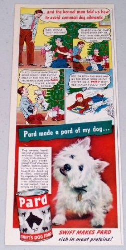 1947 Pard Swift's Dog Food Cartoon Art Color Print Ad