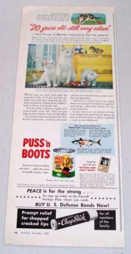 1957 Puss n' Boots Cat Food Color Print Ad