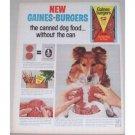 1963 General Foods Gaines Burgers Dog Food Color Print Ad