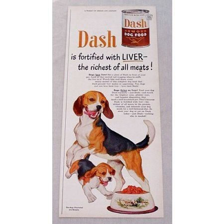 1950 Armour Dash Dog Food Beagles Color Print Ad