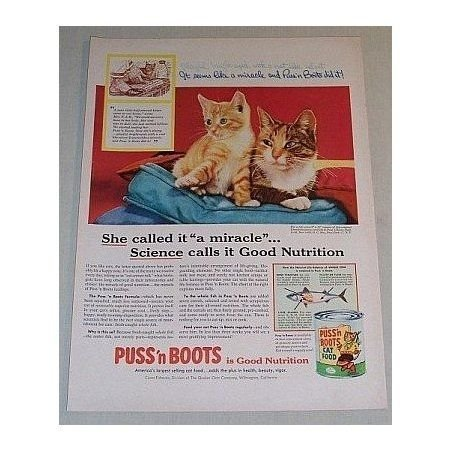 1955 Puss n Boots Cat Food Color Print Ad - She Called it