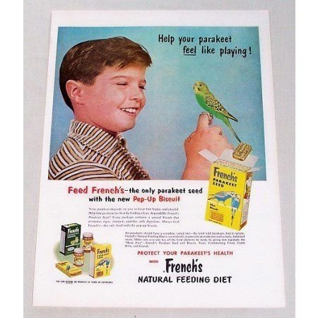 1956 French's Parakeet Bird Seed Color Vintage Print Ad
