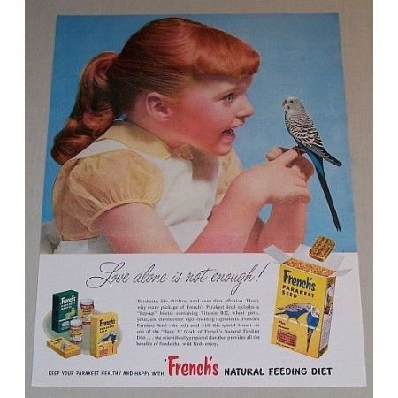 1957 French's Parakeet Seed Color Print Ad - Love Alone Is Not Enough