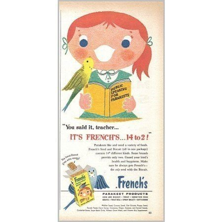 1959 French's Parakeet Bird Seed Vintage Color Print Art Ad