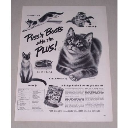 1949 Puss N' Boots Cat Food Vintage Print Art Ad - Adds The Plus!